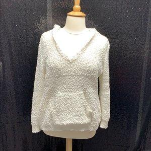 Venus white popcorn detail hooded sweater